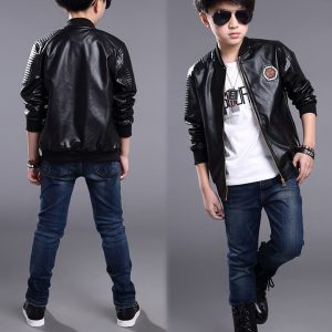 3-pilot Style Leather Jacket for kids