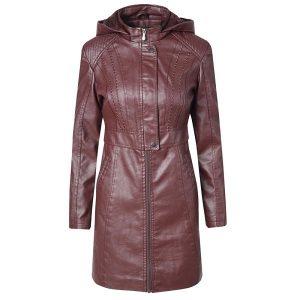 Leather Jacket Women Long Zipper 2020-1