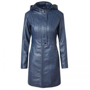 Leather Jacket Women Long Zipper 2020-2