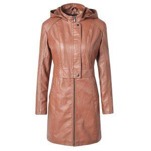 Leather Jacket Women Long Zipper 2020-3