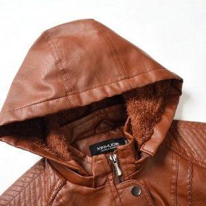Leather Jacket Women Long Zipper 2020-6