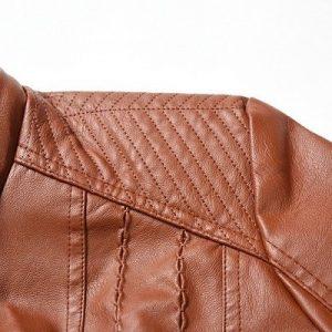 Leather Jacket Women Long Zipper 2020-8