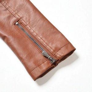 Leather Jacket Women Long Zipper 2020-9