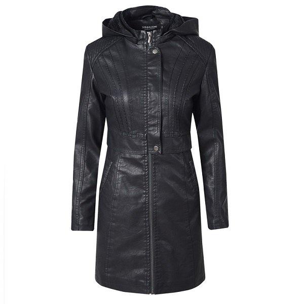 Leather Jacket Women Long Zipper 2020