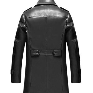 Mens Leather Overcoat Fashion Tailored-1