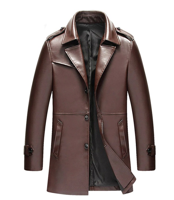 Mens Leather Overcoat Fashion Tailored-2