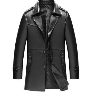 Mens Leather Overcoat Fashion Tailored