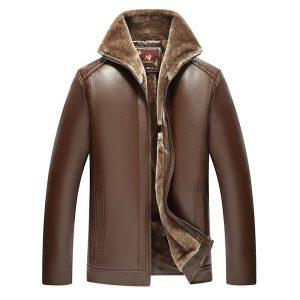 jacket leather men winter zipper-3