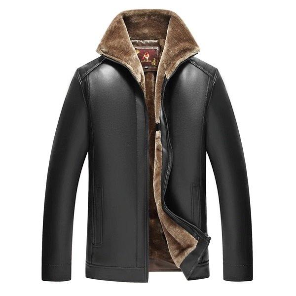 jacket leather men winter zipper