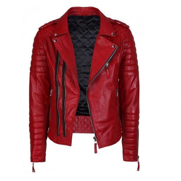 leather jacket Police design Double Zipper Closure