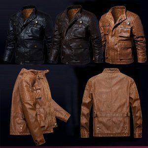 Men's leather jacket-6