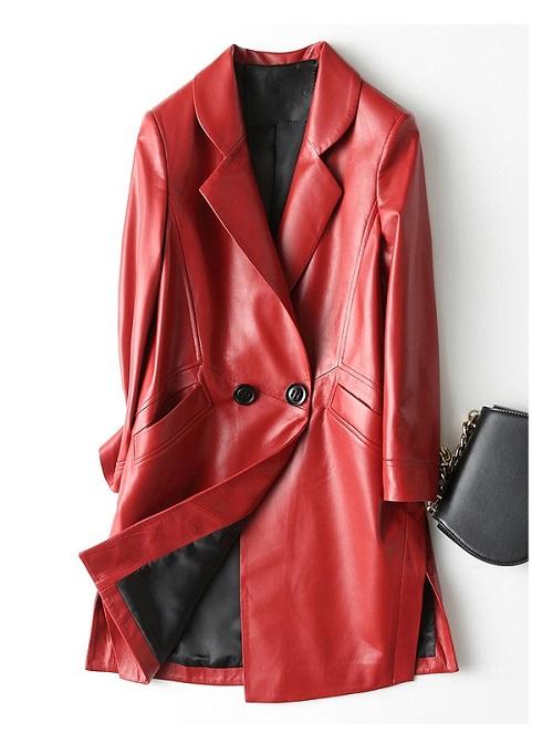 Leather Jacket Female Long