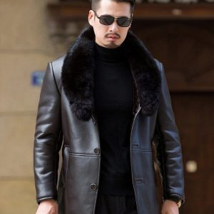 Leather Mens Coat-5