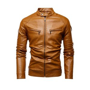 Men Leather Jackets Zipper-1
