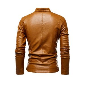 Men Leather Jackets Zipper-2