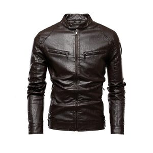 Men Leather Jackets Zipper-3