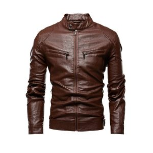 Men Leather Jackets Zipper-4