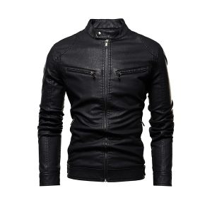 Men Leather Jackets Zipper-5