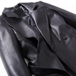 Women Leather Jacket Long -3