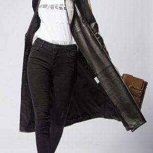 Women Leather Jacket Long -4.