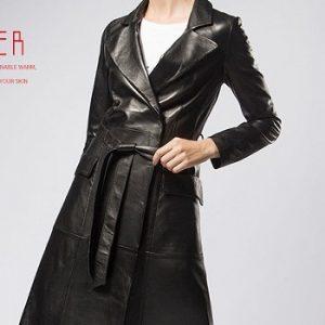 Women Leather Jacket Long -5.